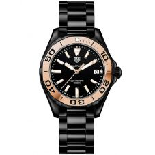 TAG Heuer Ladies Aquaracer Quartz Two Tone Ceramic Bracelet Watch WAY1355.BH0716