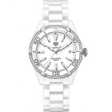 TAG Heuer Ladies Aquaracer Quartz White Ceramic Diamond-set Bracelet Watch WAY1396.BH0717