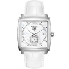 TAG Heuer Ladies Monaco Quartz White Leather Strap Watch WAW131B.FC6247
