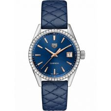 TAG Heuer Ladies Carrera Quartz Blue Leather Strap Watch WBK1317.FC8259