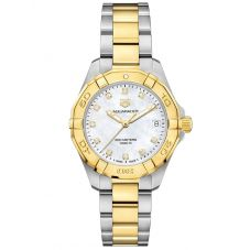 TAG Heuer Ladies Aquaracer Mother Of Pearl Diamond Set Bezel Gold Plated Stainless Steel Two Tone Bracelet Watch WBD1320.BB0320