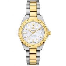 TAG Heuer Ladies Aquaracer Mother Of Pearl Dial Gold Plated Stainless Steel Two Tone Bracelet Watch WBD1320.BB0320