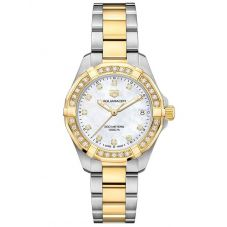 TAG Heuer Ladies Aquaracer Mother Of Pearl Diamond Set Dial Gold Plated Stainless Steel Two Tone Bracelet Watch WBD1323.BB0320