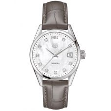 TAG Heuer Ladies Carrera Stainless Steel Diamond Set Mother Of Pearl Dial Taupe Leather Strap Watch WBK1318.FC8258