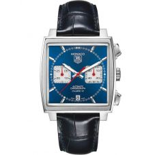 TAG Heuer Mens Monaco Calibre 12 Blue Leather Strap Watch CAW2111.FC6183