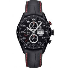 TAG Heuer Mens Carrera Calibre 16 Black Chronograph Leather Strap Watch CV2A81.FC6237