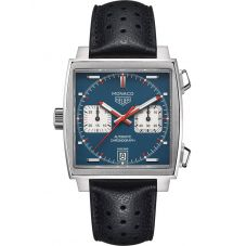 TAG Heuer Mens Monaco Calibre 11 Blue Leather Strap Watch CAW211P.FC6356