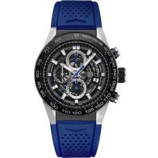TAG Heuer Mens Carrera Calibre Heuer01 Blue Skeleton Rubber Strap Watch CAR2A1T.FT6052