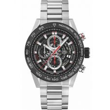 TAG Heuer Mens Carrera Calibre Heuer01 Black Chronograph Ceramic Skeleton Dial Bracelet Watch CAR2A1W.BA0703