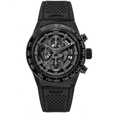 TAG Heuer Mens Carrera Calibre Heuer01 Black Skeleton Rubber Strap Watch CAR2A90.FT6071