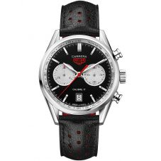 TAG Heuer Mens Carrera Calibre 17 Chronograph Black Leather Strap Watch CV211D.FC6310