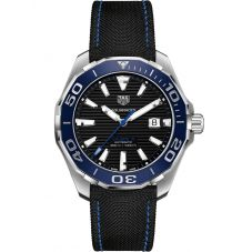 TAG Heuer Mens Aquaracer Calibre 5 Ceramic Black Dial Fabric Strap Watch WAY201C.FC6395