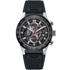 TAG Heuer Mens Carrera Calibre Heuer01 Black Skeleton Rubber Strap Watch CAR201V.FT6087