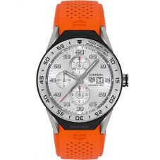 TAG Heuer Mens Connected Modular 45 Titanium Orange Rubber Strap Smartwatch SBF8A8014.11FT6081