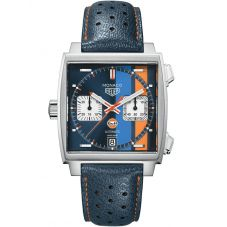 TAG Heuer Mens Monaco Gulf Special Edition Square Strap Watch CAW211R.FC6401