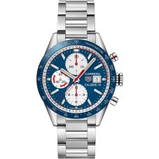 TAG Heuer Mens Carrera Calibre 16 Blue Chronograph Bracelet Watch CV201AR.BA0715