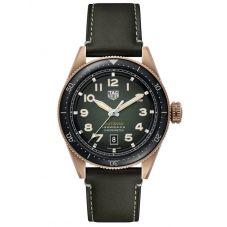 TAG Heuer Mens Autavia Automatic Chronometer Bronze Smoked Khaki Dial Leather Strap Watch WBE5190.FC8268