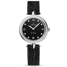 Omega Ladies De Ville Prestige Dewdrop Quartz Leather Strap Watch 424.18.27.60.51.001