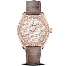 Omega Ladies Seamaster Aqua Terra 18ct Rose Gold Diamond Leather Strap Watch 220.58.34.20.99.006