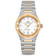 OMEGA Ladies Constellation Manhattan Diamond Set Mother Of Pearl Two-Tone Bracelet Watch 131.20.29.20.55.002