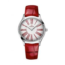 OMEGA Ladies De Ville Tresor Quartz Diamond Dial Red Strap Watch 428.18.36.60.04.002