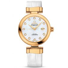 Omega Ladies De Ville Ladymatic 18ct Gold Leather Strap Watch 425.63.34.20.55.002
