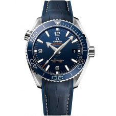 Omega Mens Seamaster Planet Ocean Ceramic Blue Dial Leather Strap Watch 215.33.44.21.03.001