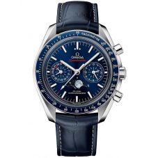 OMEGA Mens Speedmaster Moonwatch Blue Chronograph Leather Strap Watch 304.33.44.52.03.001