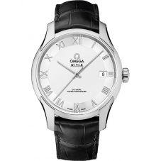 Omega Mens De Ville Hour Vision Leather Strap Watch 433.13.41.21.02.001