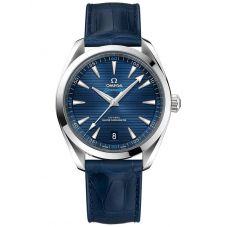 Omega Mens Seamaster Aqua Terra Blue Leather Strap Watch 220.13.41.21.03.001