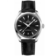 Omega Mens Seamaster Aqua Terra Leather Strap Watch 220.13.38.20.01.001