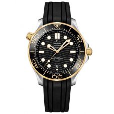 OMEGA Mens Seamaster Diver 300M 18ct Gold and Steel Black Rubber Strap Watch 210.22.42.20.01.001