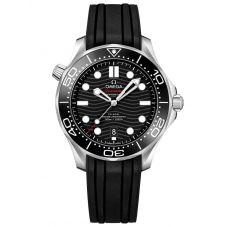 Omega Mens Seamaster Diver 300M Black Dial Rubber Strap Watch 210.32.42.20.01.001