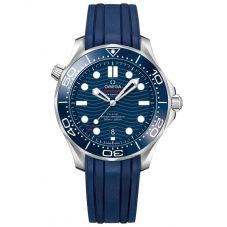 OMEGA Mens Seamaster Diver 300M Blue Dial Rubber Strap Watch 210.32.42.20.03.001