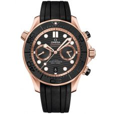 OMEGA Mens Seamaster Co-Axial Master Chronometer Chronograph Black & Rose Gold Rubber Strap Watch 210.62.44.51.01.001