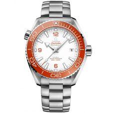 OMEGA Mens Seamaster Planet Ocean Co-Axial Master Chronometer White & Orange Dial Bracelet Watch 215.30.44.21.04.001