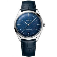 Omega Mens De Ville Tresor Co-Axial Master Chronometer Blue Leather Strap Watch 435.13.40.21.03.001