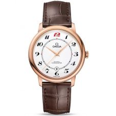 Omega Mens De Ville Prestige 18ct Rose Gold 50th Anniversary Leather Strap Watch 424.53.40.20.04.004