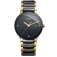 Rado Mens Centrix Diamonds Quartz Black and Gold Ceramic Bracelet Watch R30929712 L