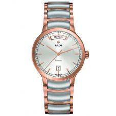Rado Mens Centrix Automatic Day Date Grey and Rose Ceramic Bracelet Watch R30158113 L