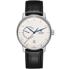 Rado Mens Coupole Classic Automatic Power Reserve Black Leather Strap Watch R22878015