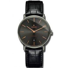 Rado Mens DiaMaster Automatic Thinline Black Leather Strap Watch R14067156