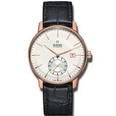 Rado Mens Coupole Classic Automatic COSC Black Leather Strap Watch R22881025
