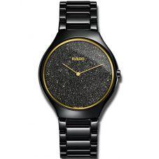 Rado Mens True Thinline Quartz Black Glitter Black Ceramic Bracelet Watch R27009152