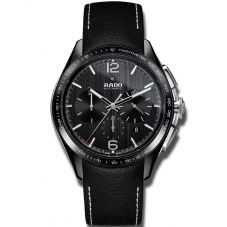 Rado Mens HyperChrome Automatic Chronograph Black Leather Strap Watch R32121155