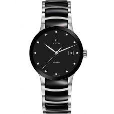 Rado Mens Centrix Diamonds Automatic Black and Silver Ceramic Bracelet Watch R30941752
