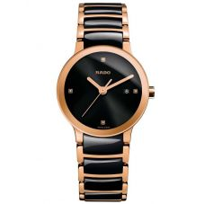 Rado Ladies Centrix Diamonds Quartz Black and Rose Ceramic Bracelet Watch R30555712 S