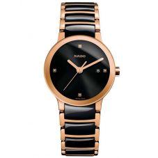 Rado Ladies Centrix Diamonds Quartz Black and Rose Ceramic Bracelet Watch R30555712 S