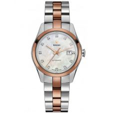 Rado Ladies HyperChrome Diamonds Automatic Rose and Silver Ceramic Bracelet Watch R32087902