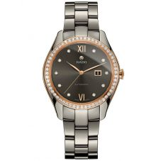 Rado Ladies HyperChrome Diamonds Automatic Grey Ceramic Bracelet Watch R32523702 M